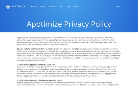 Screenshot of Privacy Page apptimize.com - Privacy Policy - Apptimize - captured April 2, 2018