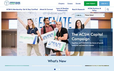 Screenshot of Home Page acsm.org - ACSM | The American College of Sports Medicine - captured Aug. 19, 2018