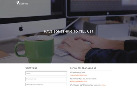 Screenshot of Contact Page pricebaba.com - Contact Pricebaba - captured Dec. 3, 2015