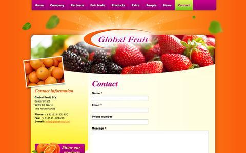 Screenshot of Contact Page global-fruit.nl - Contact - Global Fruit B.V. - captured Sept. 30, 2014