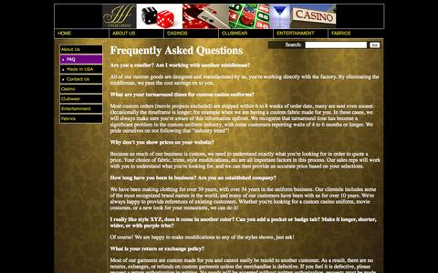 Screenshot of FAQ Page jffuniforms.com - JFF Uniforms - Frequently Asked Questions - captured Sept. 30, 2014