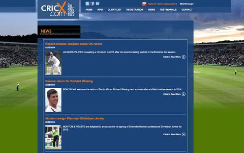 Screenshot of Press Page cricx.com - Latest News - captured Oct. 3, 2014