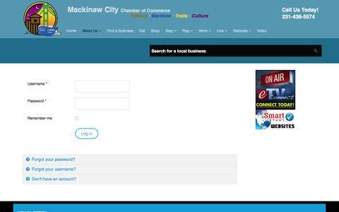 Screenshot of Login Page mackinawchamber.com - Mackinaw Chamber - Member Login - captured Feb. 2, 2016