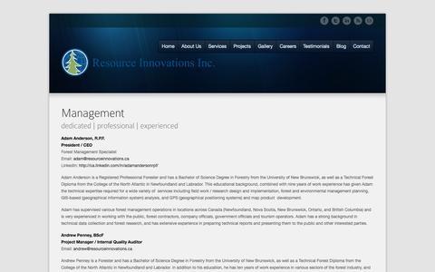 Screenshot of Team Page resourceinnovations.ca - Management Team | Resource Innovations - captured Oct. 9, 2014
