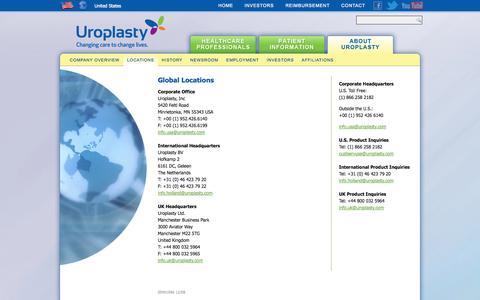 Screenshot of Locations Page uroplasty.com - Locations - Uroplasty - captured Oct. 9, 2014