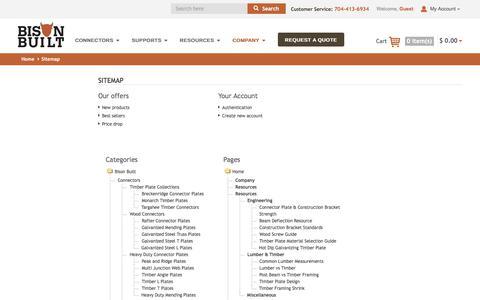Screenshot of Site Map Page bisonbuilt.com - Sitemap - Bison Built - captured June 1, 2017