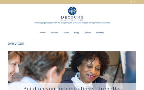 Screenshot of Services Page deyoungconsultingservices.com - Services - DeYoung Consulting Services, Minneapolis, Minnesota | Nationally Serving Nonprofits and Public Sector Clients - captured Oct. 8, 2018