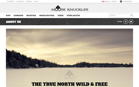 Screenshot of About Page mooseknucklescanada.com - About Us: Wild and Free | Moose Knuckles - captured Oct. 7, 2014