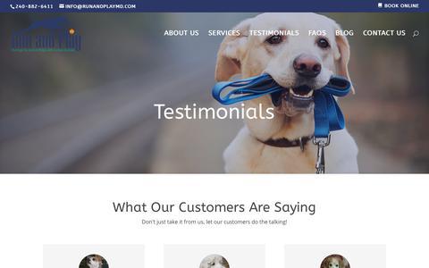 Screenshot of Testimonials Page runandplaymd.com - TESTIMONIALS - Run and Play | Group/Individual Dog Walks/Boarding - Silver Spring, MD - captured Oct. 18, 2018