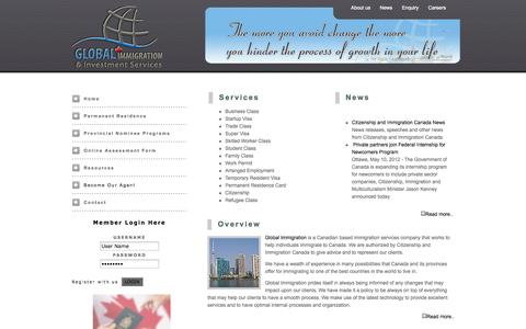 Screenshot of Home Page global-imm.ca - Global Immigration Services - captured Oct. 2, 2014