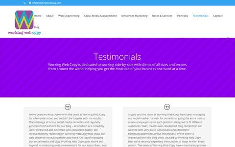 Screenshot of Testimonials Page workingwebcopy.com - Testimonials | Working Web Copy - captured Sept. 21, 2018
