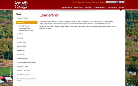 Screenshot of Team Page regiscollege.edu - Regis College: Leadership - captured Oct. 29, 2014