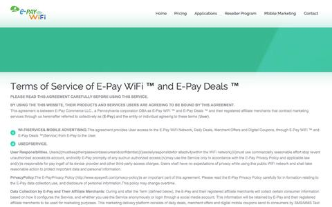 Screenshot of Terms Page epaywifi.com - Mobile Social WiFi Advertising | terms of Service for E-Pay WiFi and E-Pay Deals - captured Sept. 24, 2014