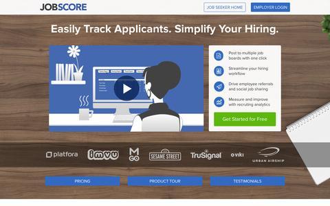 Screenshot of Home Page jobscore.com - JobScore - captured Oct. 1, 2015