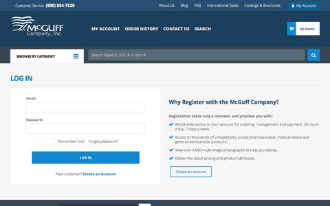Screenshot of Login Page mcguffmedical.com - Login | McGuff Medical Products - captured Oct. 18, 2017
