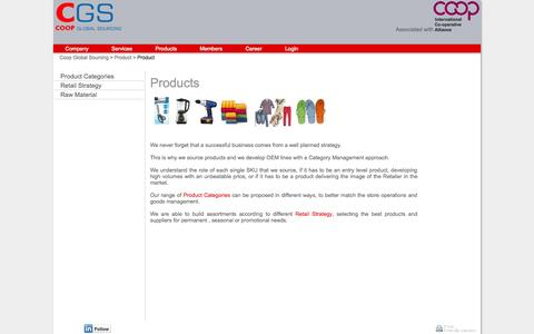 Screenshot of Products Page coopgs.com - Coop Global Sourcing - captured Oct. 3, 2014