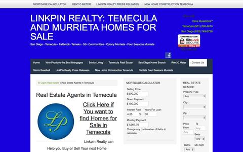 Screenshot of Contact Page linkpinrealty.com - Temecula and San Diego Homes for Sale - Linkpin Realty - captured May 20, 2017