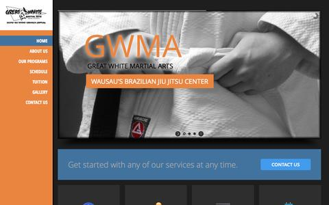 Screenshot of Home Page wausaubjj.com - Home | Great White Martial Arts (Wausau, WI) - captured Oct. 3, 2014
