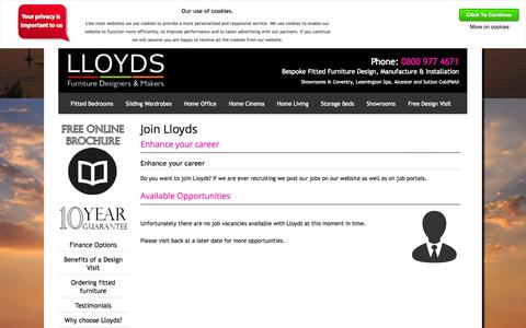 Screenshot of Jobs Page lloydsfittedbedrooms.com - Lloyds Fitted Bedrooms - View our List of Current Vacancies : Lloyds Fitted Furniture - captured Oct. 3, 2014