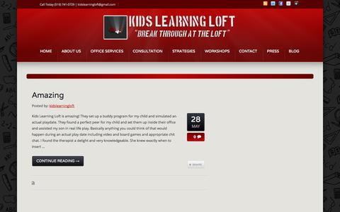 Screenshot of Testimonials Page kidslearningloft.com - Testimonials – Testimonial Category –  Kids Learning Loft - captured Sept. 30, 2014