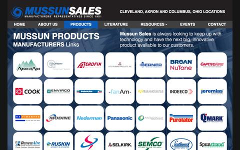 Screenshot of Products Page mussun.com - HVAC Product Lines » Mussun Sales in Ohio - captured Oct. 22, 2017