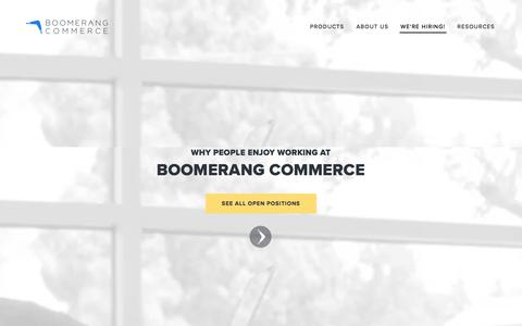 Screenshot of Jobs Page boomerangcommerce.com - Careers — Boomerang Commerce - captured Aug. 25, 2017