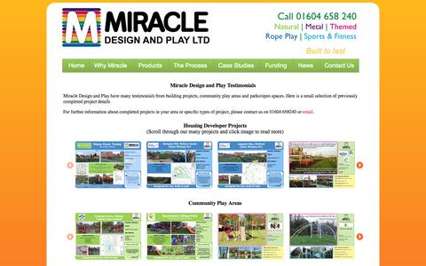 Screenshot of Case Studies Page miracledesignandplay.co.uk - Miracle Design and Play Ltd - design and supply of play areas for building projects, community play areas, parks and open spaces - client testimonials - captured Oct. 7, 2014
