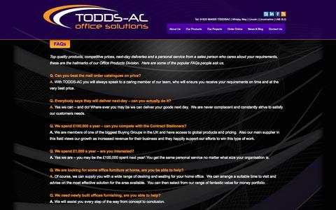 Screenshot of FAQ Page toddsac.co.uk - FAQs - Todds ACTODDS-AC – Office Furniture, Office Refurbishment & Stationery in Lincoln - captured Oct. 7, 2014