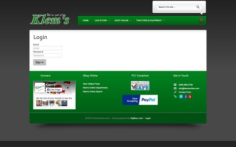Screenshot of Login Page klemsonline.com - Tractors & Equipment, Outdoor Power Tools, Service & Repair, Apparel, Boots & Shoes, Dog and Cat Food, Pet Toys, Hardware Store, Rental Shop, and Auto Parts in Spencer Ma 01562. - captured Nov. 27, 2016