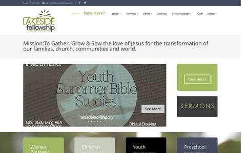 Screenshot of Home Page lakesidefellowship.org - Lakeside Fellowship United Methodist Church and School: Sanford, Fl - captured June 19, 2015