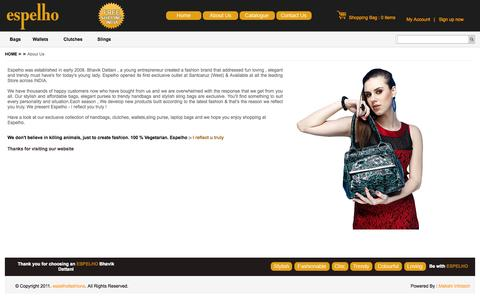 Screenshot of About Page espelhofashions.com - Espelho – About Ladies Designer Handbags, Classic Handbags, Handbag Supplier & Exporter, Manufacturer - captured Oct. 27, 2014