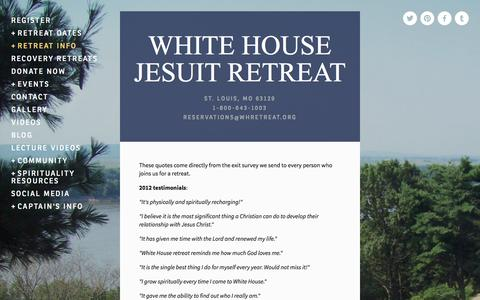Screenshot of Testimonials Page whretreat.org - Testimonials — WHITE HOUSE JESUIT RETREAT - captured Oct. 26, 2014