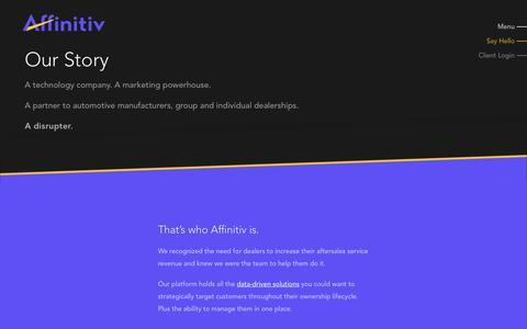 Screenshot of Team Page affinitiv.com - Our Story - Affinitiv - captured Sept. 27, 2018