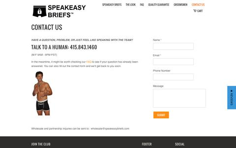 Screenshot of Contact Page speakeasybriefs.com - Contact Us                           | Speakeasy Briefs - captured Dec. 16, 2014