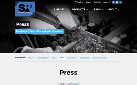 Screenshot of Press Page mysummitimaging.com - Press - captured Nov. 3, 2014