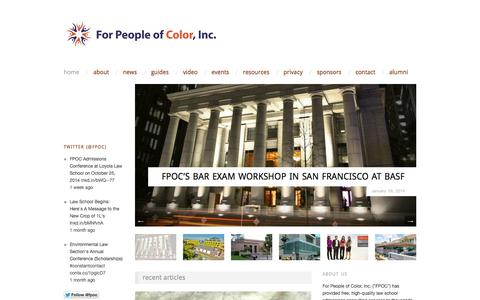 Screenshot of Home Page forpeopleofcolor.org - For People of Color, Inc. | Empowering people of color to enter law school and become attorneys. - captured Oct. 6, 2014