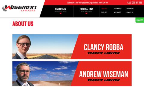 Screenshot of About Page wisemanlawyers.com.au - Wiseman Lawyers | DUI Drink Driving & Drug Driving Traffic Lawyers | Brisbane & Qld - captured Oct. 20, 2018