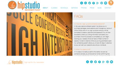 Screenshot of FAQ Page hipstudio.com - FAQs about HIP Pilates studio - captured Sept. 28, 2016