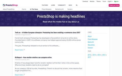 Screenshot of Press Page prestashop.com - PrestaShop In the News - captured Nov. 17, 2015