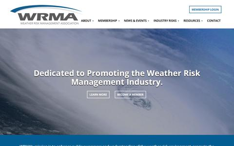 Screenshot of Home Page wrma.org - Weather Risk Management Association | Home | WRMA - captured Nov. 17, 2018