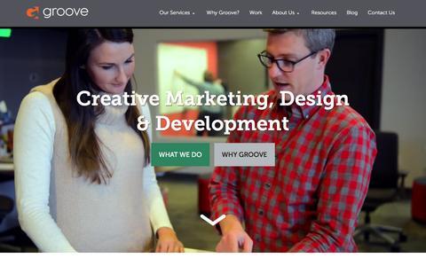 Screenshot of Home Page gotgroove.com - Magento Experts | Hubspot Platinum Partner | Groove: Creative Marketing, Design & Development - captured Feb. 10, 2016