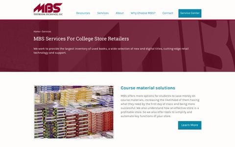 Screenshot of Services Page mbsbooks.com - MBS Textbook Exchange, LLC - captured April 15, 2018
