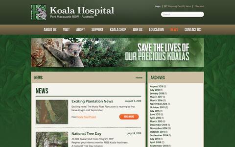 Screenshot of Press Page koalahospital.org.au - News - Koala Hospital - captured Dec. 20, 2018