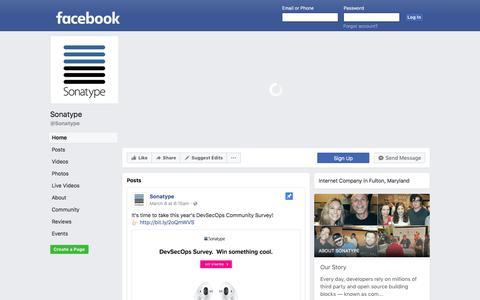 Screenshot of Facebook Page facebook.com - Sonatype - Home | Facebook - captured March 11, 2018