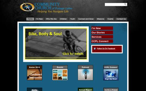 Screenshot of Home Page ccofpl.org - Community Church of Portage Lakes - captured Oct. 8, 2014