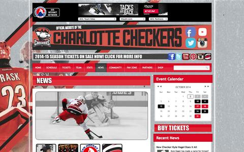 Screenshot of Press Page gocheckers.com - News - Charlotte Checkers Hockey - gocheckers.com - captured Oct. 2, 2014