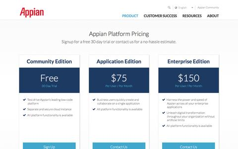 Screenshot of Pricing Page appian.com - Appian Platform Pricing - captured April 18, 2017