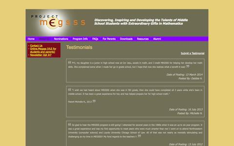 Screenshot of Testimonials Page megsss.org - Testimonials - captured Nov. 2, 2014