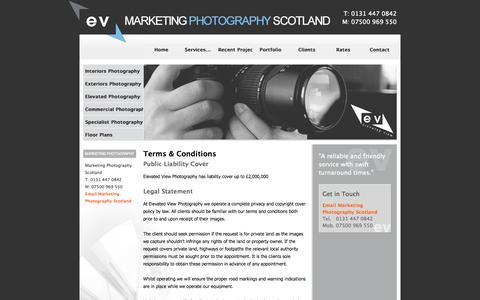Screenshot of Terms Page marketingphotographyscotland.co.uk - Site Map - Elevated View Photography - Estate Agent Photography & Floor Plans - Edinburgh - captured Oct. 2, 2014