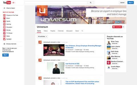 Screenshot of YouTube Page youtube.com - Universum  - YouTube - captured Oct. 26, 2014